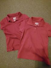 Pre Owned Lot Of 2 Girls Shirts Polo Collar Style 7 8 burgandy maroon