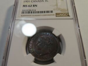 M3 Canada 1901 Large Cent NGC MS-62 Brown