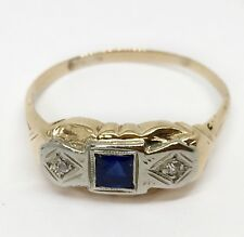 Art Deco 0.16 TCW Natural Diamond & Blue Sapphire 14k solid Yellow Gold Ring