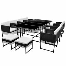 12Seat Poly Rattan Dining Table Chairs Stools Set Garden Furniture Outdoor Patio