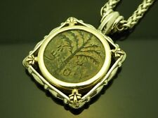 Ancient Coin Bar Kochba Kokhba Tree Of Life Sterling 14Kt YG Chain Necklace