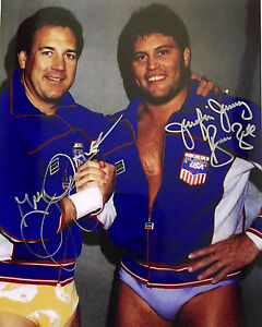 """AWA Jumping Jim Brunzell & Greg Gagne """"The High Flyers"""" Auto. Color 8x10 W/COA"""