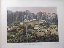 Guyane Francaise/Gravure 19°in folio couleur/ cantonnement des chercheurs d'or
