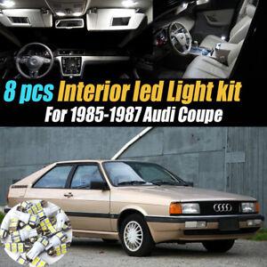 8Pc Super White Car Interior LED Light Bulb Kit Pack for 1985-1987 Audi Coupe