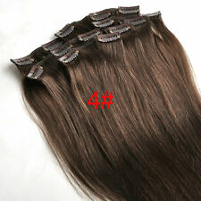"New Hot 16"" Clip in on Real Human Hair Extensions Black Brown Blonde Red 70g"