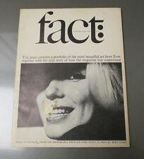 1965 FACT Magazine #3 Marilyn Monroe VG+ Photographic Essay in Eros Bert Stern