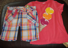 Crazy 8 pink ice cream cone top & plaid bermuda shorts Set Nwt 5 5T