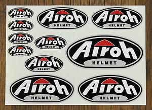 AIROH HELMET STICKER SETS - SHEET OF 11 STICKERS - Motorcycling