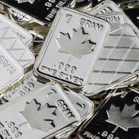 """""""Maple Leaf"""" Design. Lot of 10, 1 gram  .999 Fine silver bullion bar. """"NEW"""""""