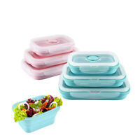 Folding Square Silicone Food Lunch Box Bowl Bento Boxes Storage Bowl Durable