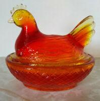 Vintage Degenhart Amberina Glass Chicken/Hen on Nest 3 Inch Dish