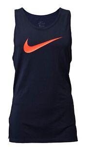 Nike Mens Orange Swoosh Dri-Fit Vented Athletic Sports Gym Performance Blue Tank