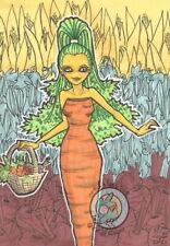 Vegetables Cartoon Garden Fairy L/E Hand Embellished Fantasy ACEO art PRINT ejw