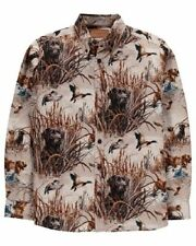 NWT Mens hunting shirt ducks and dogs print button front long sleeve Size L