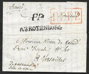 France covers folded letter A3ROTENBURG to Versailles  PPPP inred in box