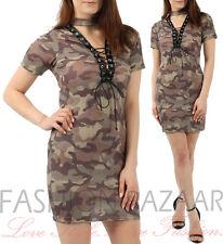 Womans Camo Print Long T Shirt Mini Dress Eyelet String Lace Up Choker Neck Top