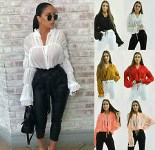 Womens Ladies Tie Up Ruched Mesh Frill Puff Sleeve Cropped Blouse Shirt Top New