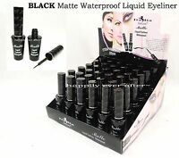 12 PCs Italia Deluxe Black Matte Waterproof Liquid Eyeliner- Full size 12 PCs