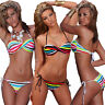 7f3737cc5c6b8 Damen Bikini Set Badeanzug Neckholder Neck Top Push up Streifen gestreift  34 36