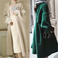 Women Softly Wool Cashmere Blend Cardigan Long Sweater Jacket Oversized Knitwear
