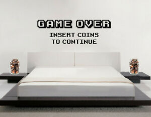 Arcade Game Over Retro Insert Coins to Continue Wall Stickers Gamer Vinyl Decals