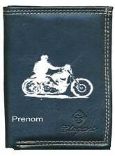 Petit Portefeuille Homme, porte monnaie papiers moto style harley avecvotre nom