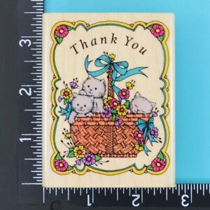 Basket of Kitties Thank You L737 Floral Hero Arts Wood Mounted Rubber Stamp 1990