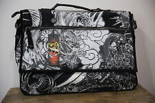 Ed Hardy Men's Black Leather Suede Tattoo Briefcase Bag Sachtel Attache
