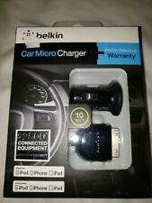Belkin Car Micro Charger w/ 3ft Sync Cable Black  Apple iPhone- iPad & iPod t2