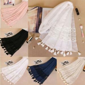 Women Lace Cotton Shawl Tassel Scarf Hijab Wrap Large Embroidered Turban Stole