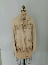 EUC RARE Lucky Brand Vintage BOHO Fringe Leather Festival Jacket Coat M