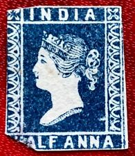 1854 Indian Stamps SC#2 1/2a Half Anna Deep Blue Imperf Mint