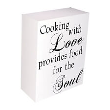 """INSPIRATIONAL WOODEN BLOCK SIGN-  """"COOKING WITH LOVE PROVIDES FOOD FOR THE SOUL"""""""