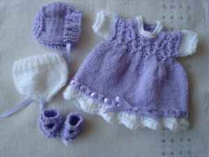HAND KNITTED DOLLS CLOTHES TO FIT 10-12 INCH DOLL, ROSEBUD, BERENGEUR, OOAK