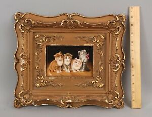 RARE Antique Signed Wagner KPM Porcelain Painting Plaque KITTENS Cats Gilt Frame