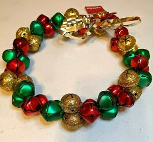 """GLITTERED JINGLE BELL WREATH - 10"""" RED GREEN GOLD; RED METAL POINSETTIA BOW"""