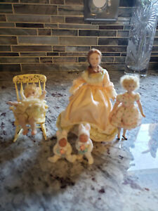 lot of artist made doll house doll all porcelain  1:12 EUC