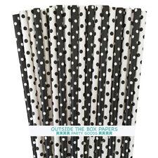 100 Black and White Polka Dot Paper Straws