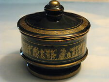 Vintage Special 24K Gold Trimmed Black Candy Nuts Jar w/Lid Hand Made in Greece
