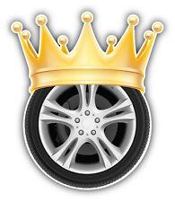 Wheel Golden Crown Car Bumper Sticker Decal 4'' x 5''