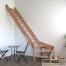 Raumspartreppe Rhodos 1/4 gewendelt links ohne Handlauf Holztreppe