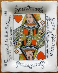 Schweppes Soda & Seltzer 1897 Tip Tray w/Playing Card/Queen of Hearts- Porcelain