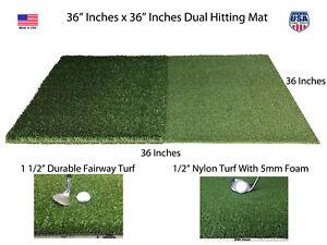 "36"" x 36"" Portable Dual Turf Mat Golf Chipping Driving Range Practice 5mm Foam"
