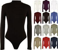 New Womens Turtle Neck Bodysuit Ladies Long Sleeve Stretch Leotard Top