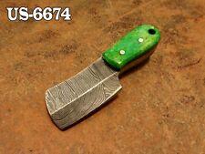 """3""""CUSTOM  DAMASCUS STEEL MINI HATCHET AXE NECK KNIFE,STAINED CAMEL BONE US-6674"""