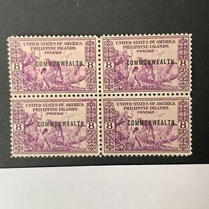 U2/44 US Philippines Stamp 1937 Scott436 8c Unused NH No Gum Nice Block 4