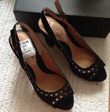 NUOVO 🌷 Clarks 🌷 Taglia 4 nero perla in pelle scamosciata punta aperta scarpe Sandali TIPO CHANEL Ritaglio