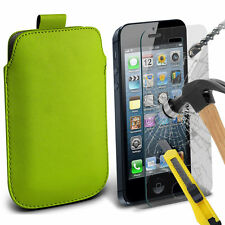 Green PU Leather Pull Tab Case Pouch & Glass for Apple iPhone 5
