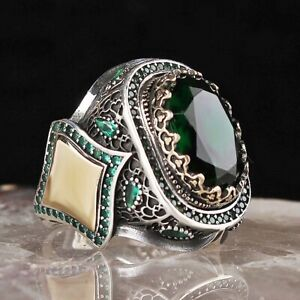 Turkish Jewelry 925 Sterling Silver Emerald HEAVY Stone Mens Ring Usa All Size