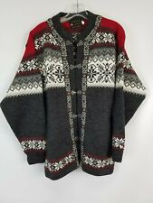 Norskwear Made In Norway Red Gray 100% Wool Cardigan Sweater Sz L